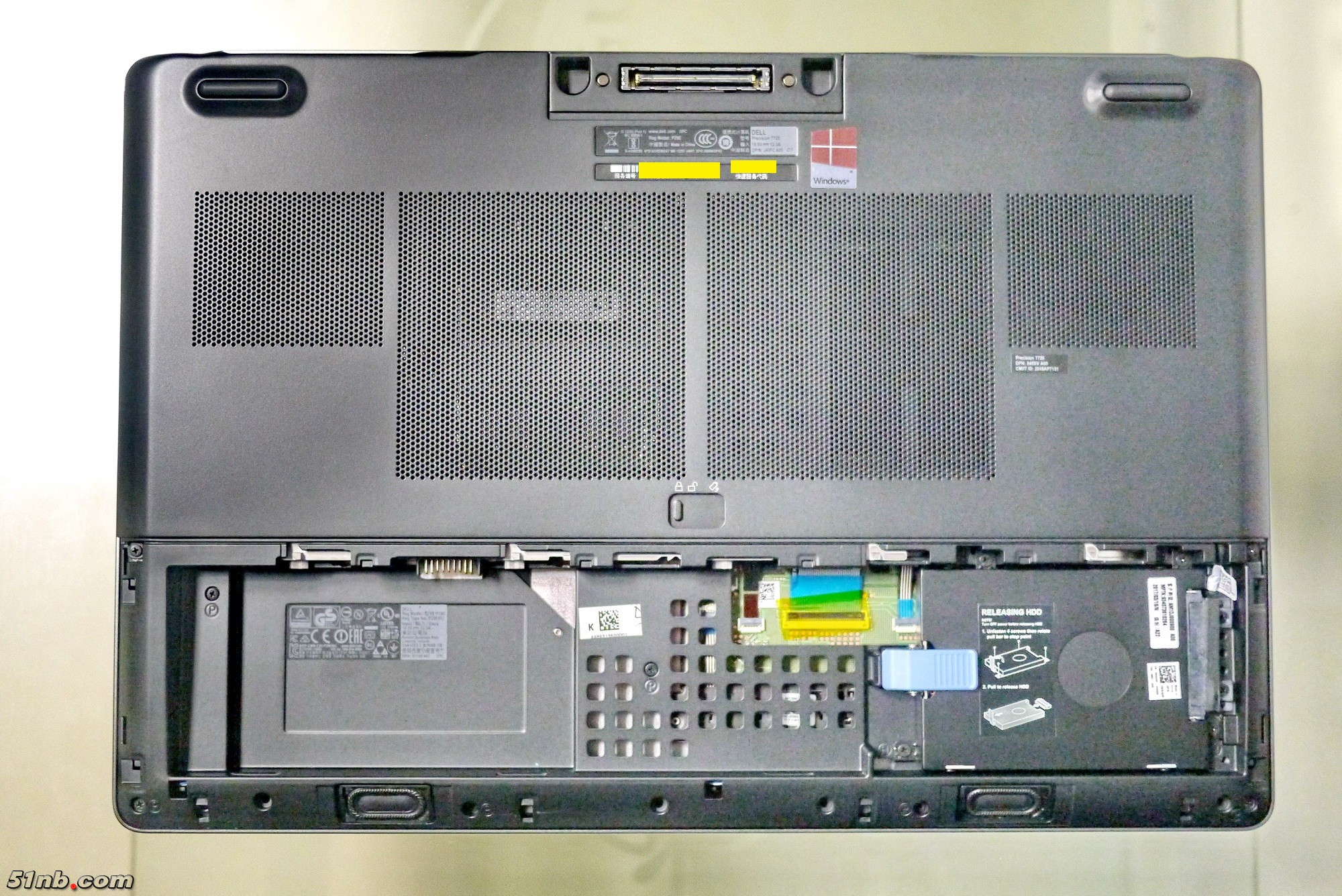 Dell Precision 7720 Disassembly And Ssd Ram Upgrade Guide Diagram In Addition Lcd Industrial Control Panels On Laptop Now You Can See The 25 Inch Hard Disk Bay Several Sets Of Cables Left