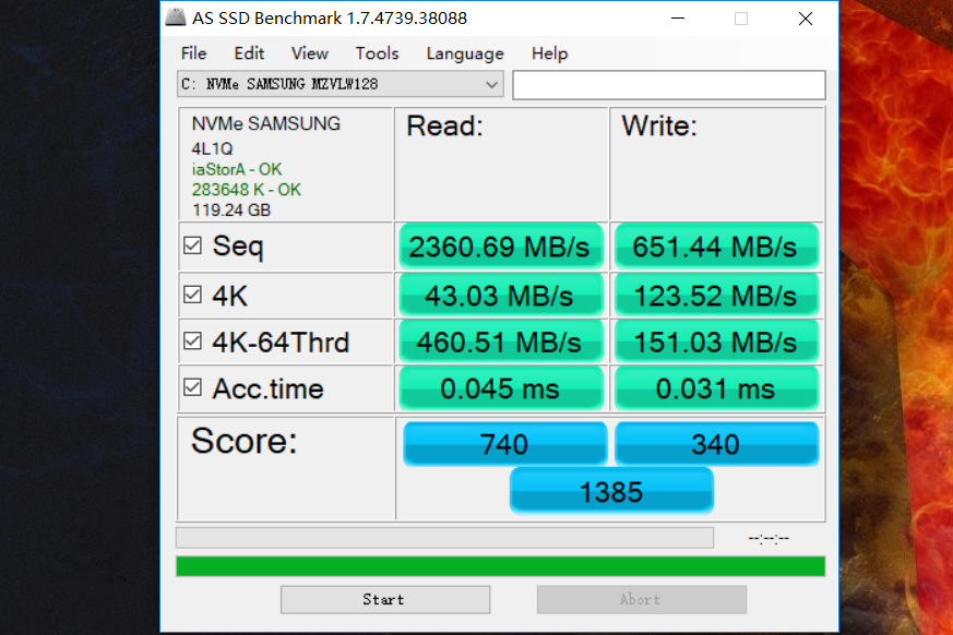 Lenovo Legion Y720 SSD test