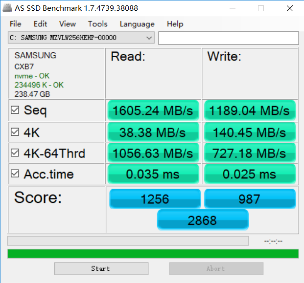 Xiaomi Mi Notebook Pro hard disk performance test details