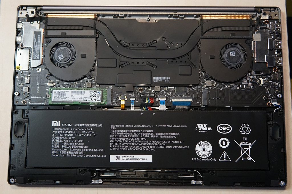 Xiaomi Mi Notebook Pro internal picrure