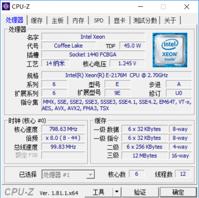 Xeon E-2176M