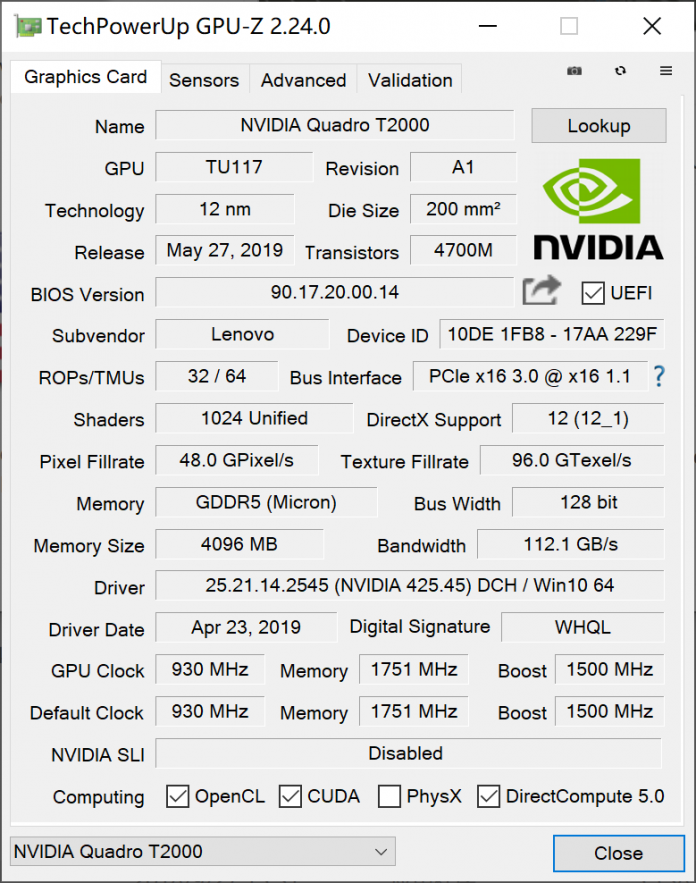 GPU specification